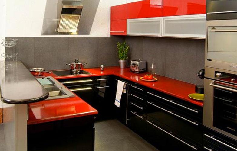 Cuisine rouge plan de travail noir - pearlfection.fr