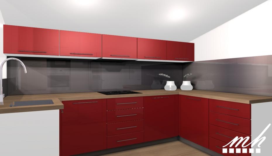 Cuisine Rouge Et Plan De Travail Bois Pearlfection Fr