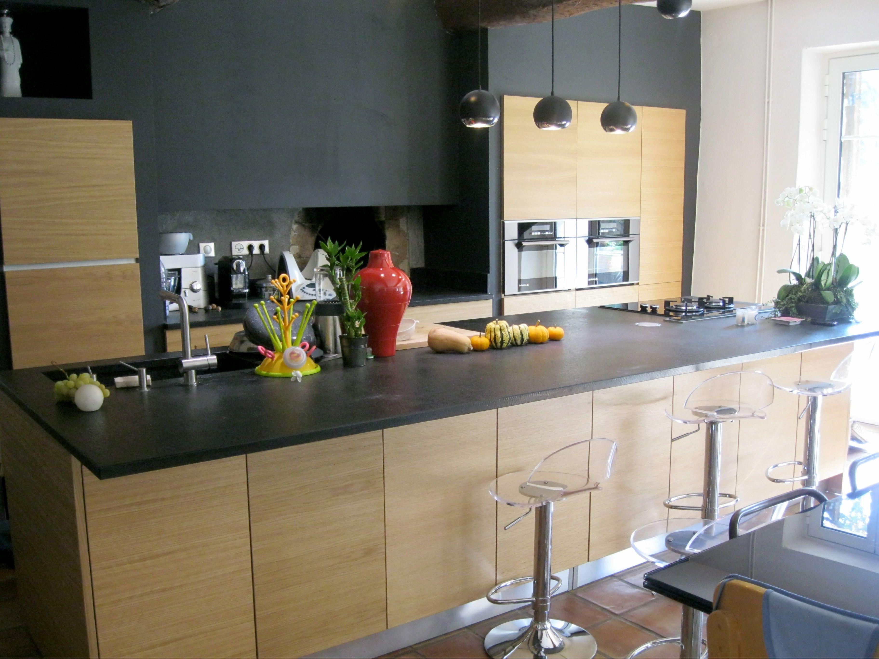 Cuisine avec plan de travail marbre noir - pearlfection.fr