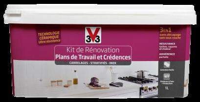 Kit de rénovation plan de travail v33 carbonate satin 1l