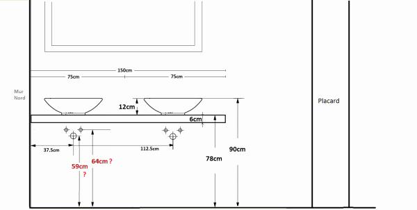 Hauteur plan de travail de salle de bain - pearlfection.fr