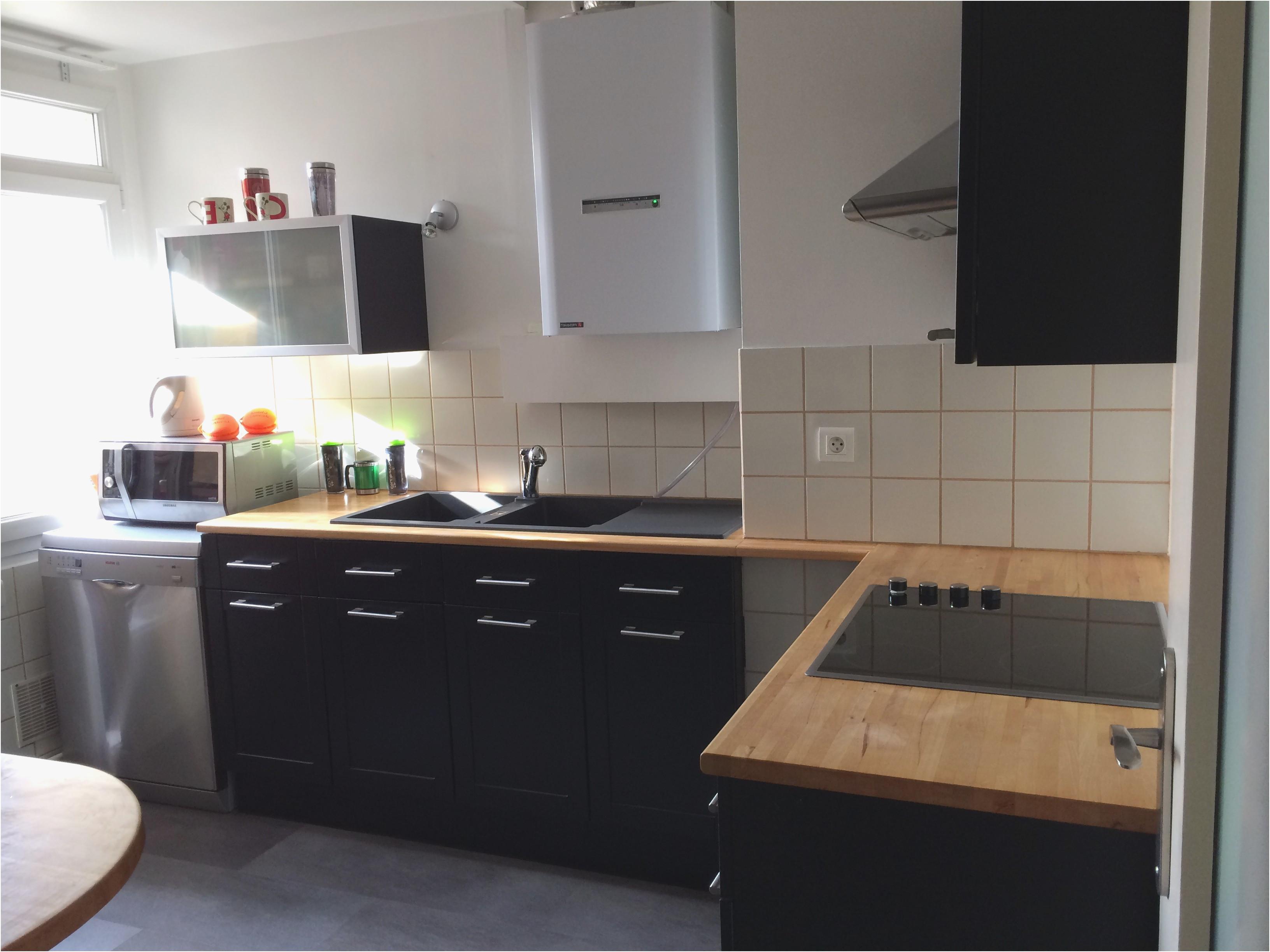 Plan Travail Cuisine Noir meuble de cuisine noir et bois