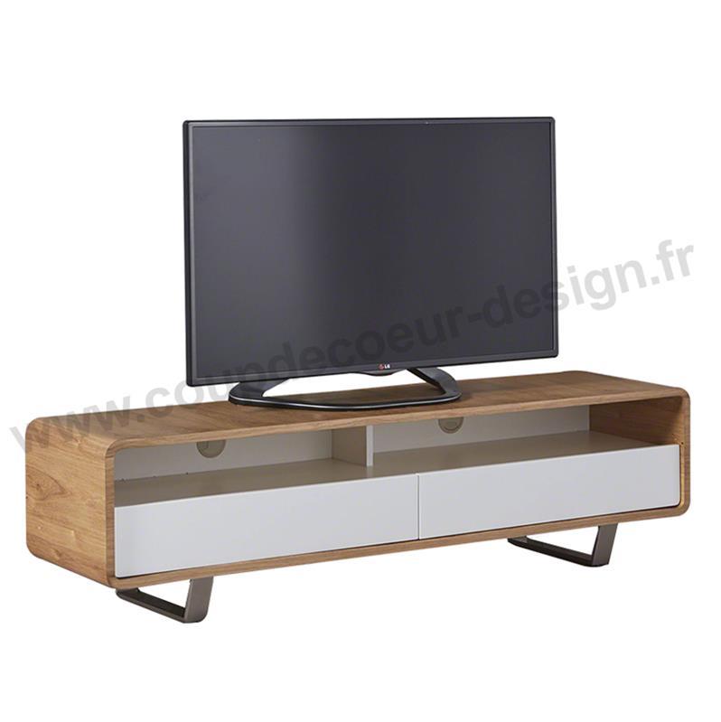 Meuble tv blanc laqué scandinave
