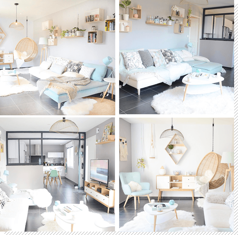 Salon scandinave blanc et pastel - pearlfection.fr