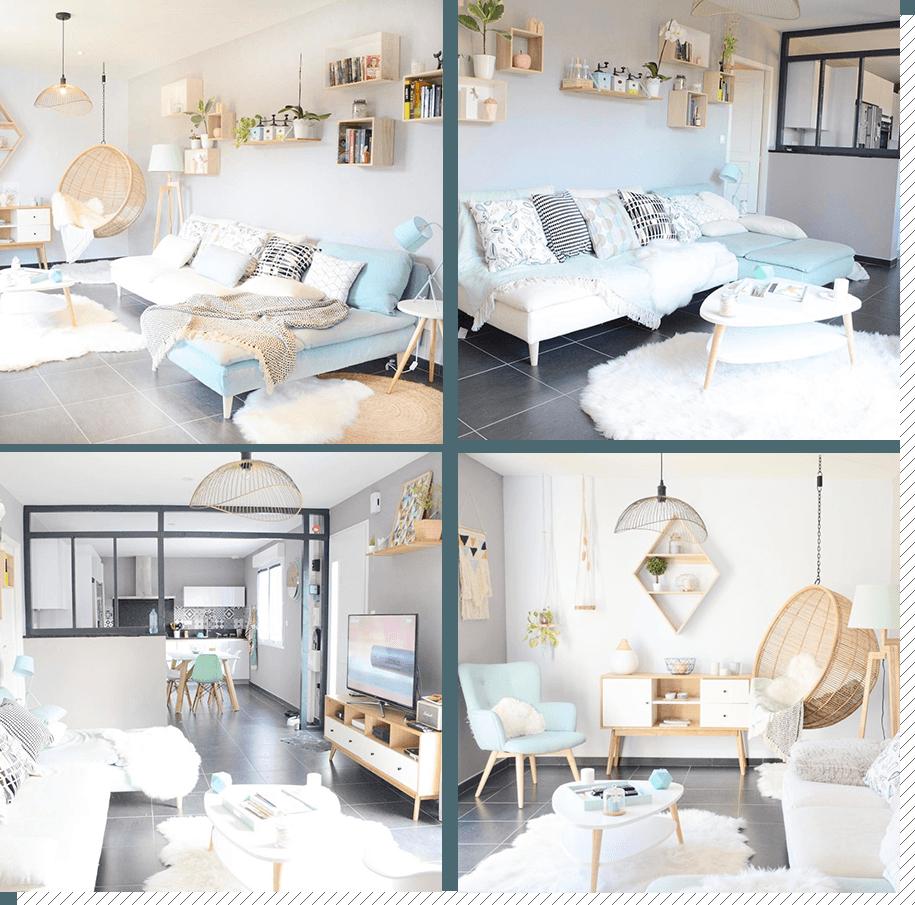 Salon scandinave blanc et pastel - pearlfection.fr