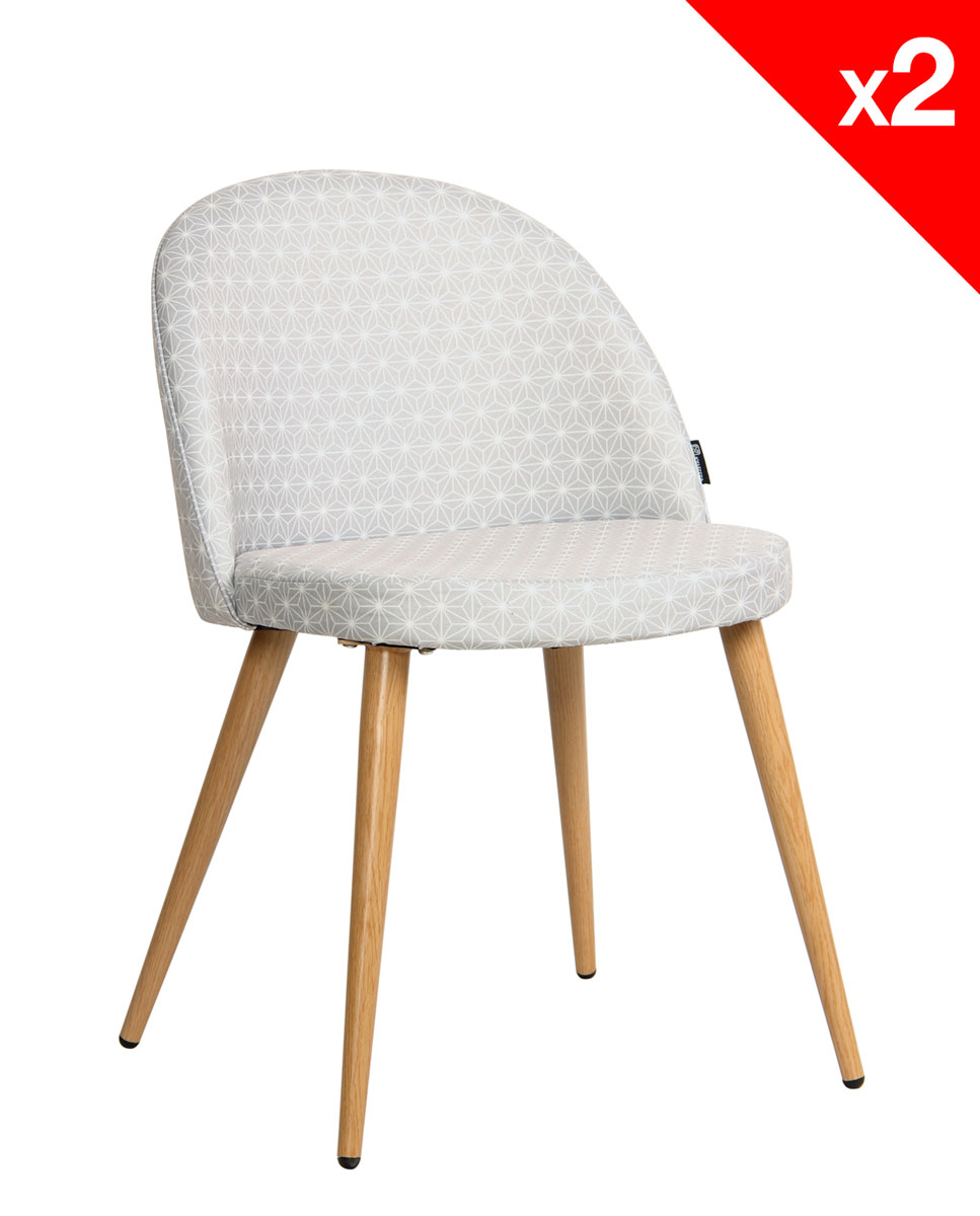 Lot chaise scandinave tissu
