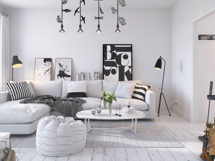 Salon scandinave gris et blanc - pearlfection.fr