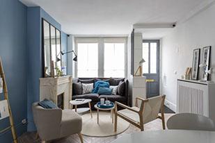 Salon Scandinave Mur Bleu