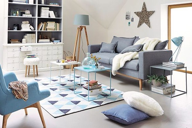 Salon scandinave bleu gris - pearlfection.fr