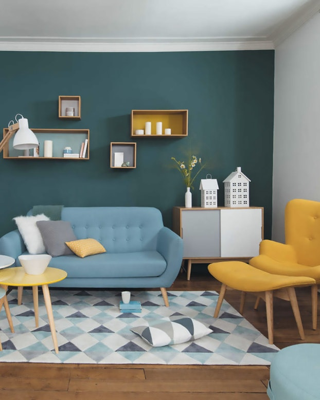 Salon scandinave gris et bleu - pearlfection.fr