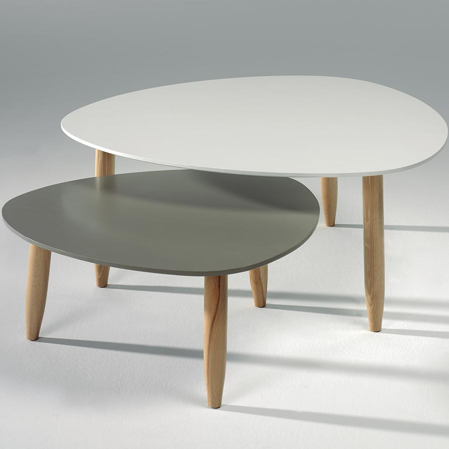 Table Basse Scandinave Gigogne Blanche Pearlfectionfr