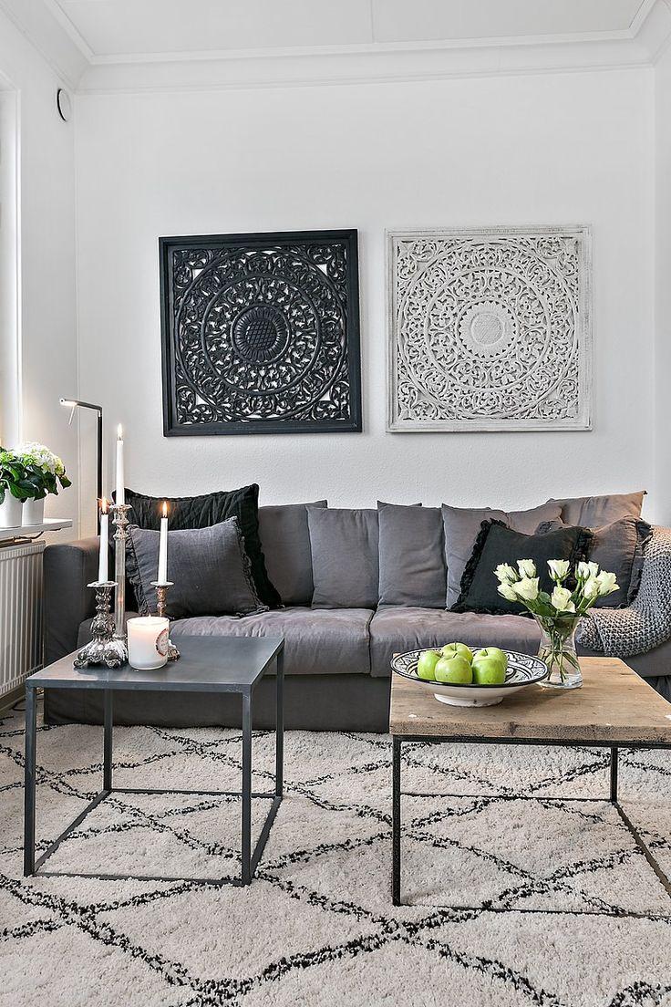 Salon scandinave gris noir - pearlfection.fr